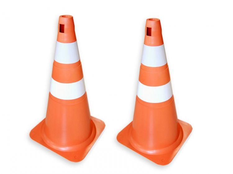 Cone PVC laranja e branco 70/75 Cm