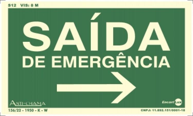 Saida de emergencia seta para direita