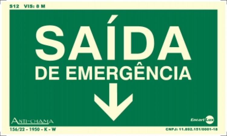 Saida de emergencia seta para baixo